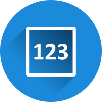 blue circle with a white box and the text 123