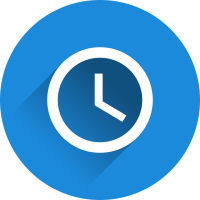 blue circle with a clock